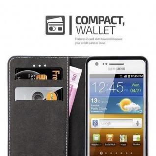 Cadorabo Hülle für Samsung Galaxy S2 / S2 PLUS in DUNKEL BLAU BRAUN ? Handyhülle mit Magnetverschluss, Standfunktion und Kartenfach ? Case Cover Schutzhülle Etui Tasche Book Klapp Style - Vorschau 3