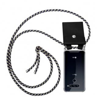 Cadorabo Handy Kette für LG V40 in DUNKELBLAU GELB Silikon Necklace Umhänge Hülle mit Silber Ringen, Kordel Band Schnur und abnehmbarem Etui Schutzhülle