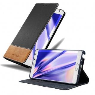 Cadorabo Hülle für Samsung Galaxy NOTE EDGE in SCHWARZ BRAUN Handyhülle mit Magnetverschluss, Standfunktion und Kartenfach Case Cover Schutzhülle Etui Tasche Book Klapp Style