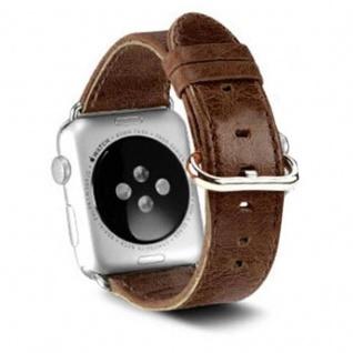 Cadorabo Edelstahl Armband für 42 mm Apple Watch 1 & Apple Watch 2 & Apple Watch 3 - Wrist Band in MOCCA BRAUN - Kunstleder Armband mit Edelstahlschließe - Uhr Zubehör Smartwatch iWatch