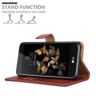 Cadorabo Hülle für LG K8 2016 in WEIN ROT ? Handyhülle mit Magnetverschluss, Standfunktion und Kartenfach ? Case Cover Schutzhülle Etui Tasche Book Klapp Style - Vorschau 4