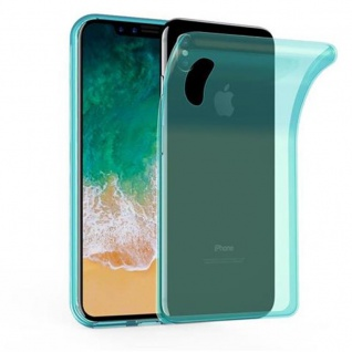Cadorabo Hülle für Apple iPhone X / XS in TRANSPARENT BLAU - Handyhülle aus flexiblem TPU Silikon - Silikonhülle Schutzhülle Ultra Slim Soft Back Cover Case Bumper