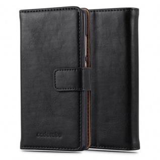 Cadorabo Hülle für Huawei P8 LITE 2015 in GRAPHIT SCHWARZ - Handyhülle mit Magnetverschluss, Standfunktion und Kartenfach - Case Cover Schutzhülle Etui Tasche Book Klapp Style