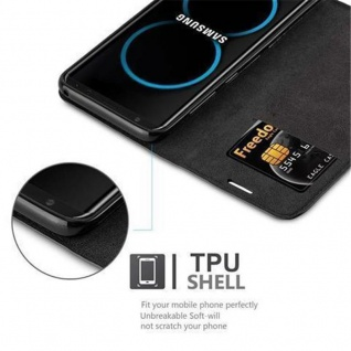 Cadorabo Hülle für Samsung Galaxy S8 in NACHT SCHWARZ - Handyhülle mit Magnetverschluss, Standfunktion und Kartenfach - Case Cover Schutzhülle Etui Tasche Book Klapp Style - Vorschau 3