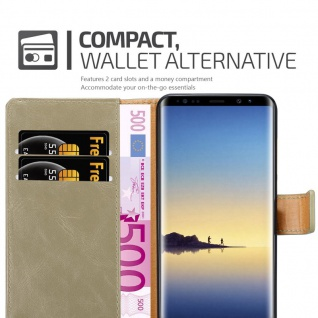 Cadorabo Hülle für Samsung Galaxy NOTE 8 in CAPPUCCINO BRAUN ? Handyhülle mit Magnetverschluss, Standfunktion und Kartenfach ? Case Cover Schutzhülle Etui Tasche Book Klapp Style - Vorschau 5