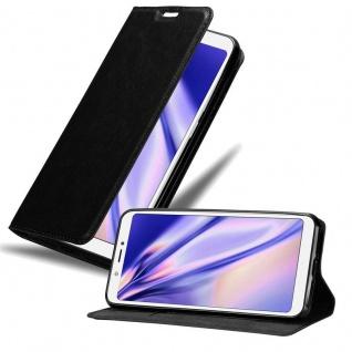 Cadorabo Hülle für BQ Aquaris C in NACHT SCHWARZ - Handyhülle mit Magnetverschluss, Standfunktion und Kartenfach - Case Cover Schutzhülle Etui Tasche Book Klapp Style