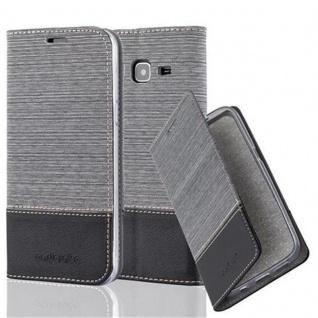Cadorabo Hülle für Samsung Galaxy J3 2016 in GRAU SCHWARZ - Handyhülle mit Magnetverschluss, Standfunktion und Kartenfach - Case Cover Schutzhülle Etui Tasche Book Klapp Style