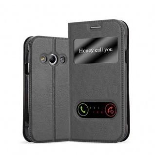 Cadorabo Hülle für Samsung Galaxy XCOVER 3 in KOMETEN SCHWARZ ? Handyhülle mit Magnetverschluss, Standfunktion und 2 Sichtfenstern ? Case Cover Schutzhülle Etui Tasche Book Klapp Style