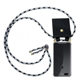 Cadorabo Handy Kette für OnePlus 5T in SCHWARZ CAMOUFLAGE Silikon Necklace Umhänge Hülle mit Gold Ringen, Kordel Band Schnur und abnehmbarem Etui Schutzhülle