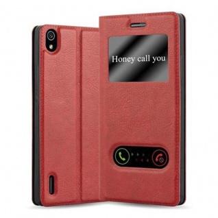 Cadorabo Hülle für Huawei P7 in SAFRAN ROT Handyhülle mit Magnetverschluss, Standfunktion und 2 Sichtfenstern Case Cover Schutzhülle Etui Tasche Book Klapp Style