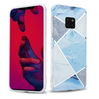 Cadorabo Hülle für Huawei MATE 20 PRO Hülle in Blau weiß grau Marmor No.2 Handyhülle aus TPU Silikon mit Muster Mosaik Silikonhülle Schutzhülle Ultra Slim Back Cover Case Bumper