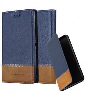 Cadorabo Hülle für Sony Xperia X in DUNKEL BLAU BRAUN - Handyhülle mit Magnetverschluss, Standfunktion und Kartenfach - Case Cover Schutzhülle Etui Tasche Book Klapp Style