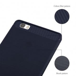 Cadorabo Hülle für Huawei P8 LITE 2015 - Hülle in BRUSHED BLAU - Handyhülle aus TPU Silikon in Edelstahl-Karbonfaser Optik - Silikonhülle Schutzhülle Ultra Slim Soft Back Cover Case Bumper - Vorschau 5