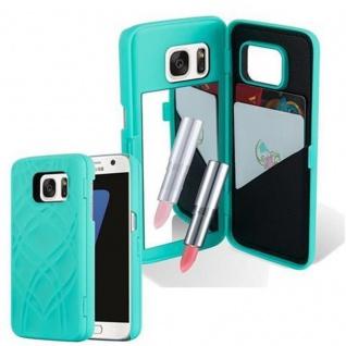 Cadorabo - TPU Hard Cover für Samsung Galaxy S7 mit Muster, Spiegel und 3 Kartenfächer ? Case Schutzhülle in TÜRKIS