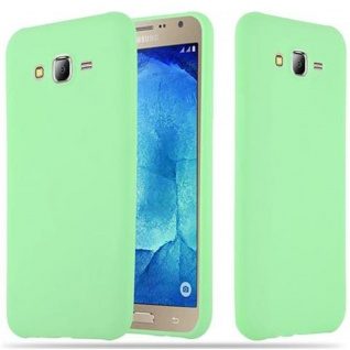 Cadorabo Hülle für Samsung Galaxy J7 2015 in CANDY PASTELL GRÜN - Handyhülle aus flexiblem TPU Silikon - Silikonhülle Schutzhülle Ultra Slim Soft Back Cover Case Bumper