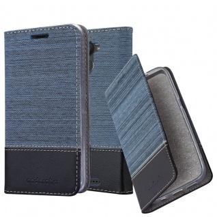 Cadorabo Hülle für BQ Aquaris U Plus in DUNKEL BLAU SCHWARZ - Handyhülle mit Magnetverschluss, Standfunktion und Kartenfach - Case Cover Schutzhülle Etui Tasche Book Klapp Style