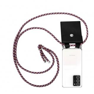 Cadorabo Handy Kette für Samsung Galaxy NOTE 20 PLUS in ROT GELB WEISS Silikon Necklace Umhänge Hülle mit Silber Ringen, Kordel Band Schnur und abnehmbarem Etui Schutzhülle