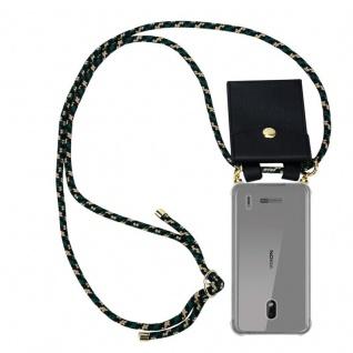 Cadorabo Handy Kette für Nokia 2.2 in CAMOUFLAGE Silikon Necklace Umhänge Hülle mit Gold Ringen, Kordel Band Schnur und abnehmbarem Etui Schutzhülle
