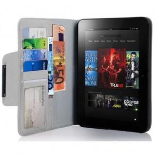 Cadorabo Hülle für Kindl Fire (7.0 Zoll) 2012 - Hülle in TITAN WEIß - Schutzhülle mit Standfunktion und Kartenfach - Book Style Etui Bumper Case Cover