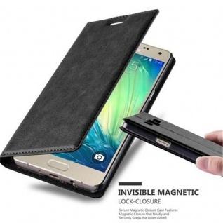 Cadorabo Hülle für Samsung Galaxy A5 2015 in NACHT SCHWARZ - Handyhülle mit Magnetverschluss, Standfunktion und Kartenfach - Case Cover Schutzhülle Etui Tasche Book Klapp Style