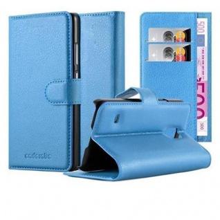 Cadorabo Hülle für Samsung Galaxy S5 MINI / S5 MINI DUOS in PASTEL BLAU - Handyhülle mit Magnetverschluss, Standfunktion und Kartenfach - Case Cover Schutzhülle Etui Tasche Book Klapp Style