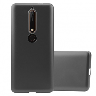 Cadorabo Hülle für Nokia 6.1 2018 in METALLIC GRAU - Handyhülle aus flexiblem TPU Silikon - Silikonhülle Schutzhülle Ultra Slim Soft Back Cover Case Bumper