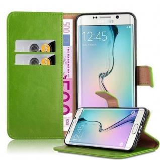Cadorabo Hülle für Samsung Galaxy S6 EDGE PLUS in GRAS GRÜN ? Handyhülle mit Magnetverschluss, Standfunktion und Kartenfach ? Case Cover Schutzhülle Etui Tasche Book Klapp Style