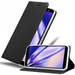 Cadorabo Hülle für Samsung Galaxy A6 2018 in CLASSY SCHWARZ - Handyhülle mit Magnetverschluss, Standfunktion und Kartenfach - Case Cover Schutzhülle Etui Tasche Book Klapp Style