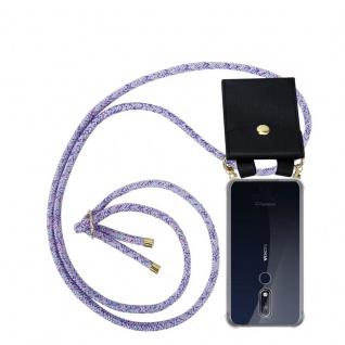 Cadorabo Handy Kette für Nokia 7.1 2018 in UNICORN - Silikon Necklace Umhänge Hülle mit Gold Ringen, Kordel Band Schnur und abnehmbarem Etui ? Schutzhülle