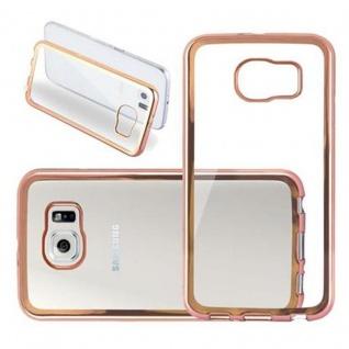 Cadorabo Hülle für Samsung Galaxy S6 - Hülle in TRANSPARENT mit CHROM GOLD ? Handyhülle aus TPU Silikon im Chrom Design - Silikonhülle Schutzhülle Ultra Slim Soft Back Cover Case Bumper