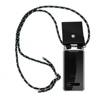 Cadorabo Handy Kette für Samsung Galaxy S10 PLUS in CAMOUFLAGE - Silikon Necklace Umhänge Hülle mit Silber Ringen, Kordel Band Schnur und abnehmbarem Etui - Schutzhülle