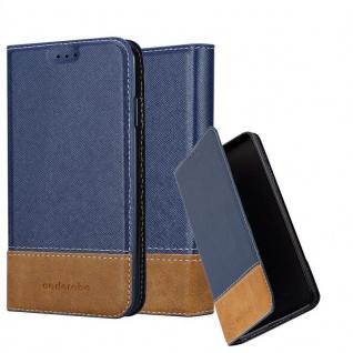 Cadorabo Hülle für Apple iPhone XS MAX in DUNKEL BLAU BRAUN - Handyhülle mit Magnetverschluss, Standfunktion und Kartenfach - Case Cover Schutzhülle Etui Tasche Book Klapp Style