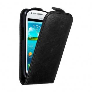 Cadorabo Hülle für Samsung Galaxy S3 MINI in NACHT SCHWARZ - Handyhülle im Flip Design mit unsichtbarem Magnetverschluss - Case Cover Schutzhülle Etui Tasche Book Klapp Style