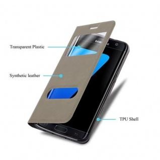 Cadorabo Hülle für Samsung Galaxy S7 EDGE in STEIN BRAUN ? Handyhülle mit Magnetverschluss, Standfunktion und 2 Sichtfenstern ? Case Cover Schutzhülle Etui Tasche Book Klapp Style - Vorschau 3