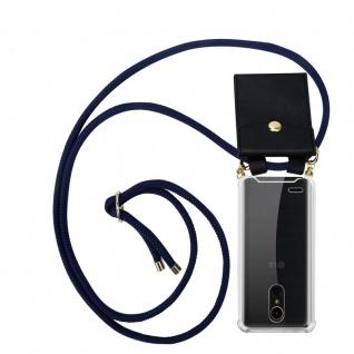 Cadorabo Handy Kette für LG K10 2017 in TIEF BLAU - Silikon Necklace Umhänge Hülle mit Gold Ringen, Kordel Band Schnur und abnehmbarem Etui ? Schutzhülle