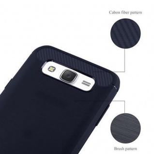 Cadorabo Hülle für Samsung Galaxy J7 2015 (5) - Hülle in BRUSHED BLAU - Handyhülle aus TPU Silikon in Edelstahl-Karbonfaser Optik - Silikonhülle Schutzhülle Ultra Slim Soft Back Cover Case Bumper - Vorschau 5