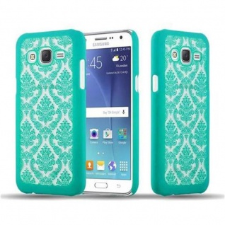 Samsung Galaxy J7 2015 Hardcase Hülle in GRÜN von Cadorabo - Blumen Paisley Henna Design Schutzhülle ? Handyhülle Bumper Back Case Cover