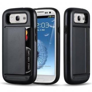 Cadorabo Hülle für Samsung Galaxy S3 / S3 NEO - Hülle in ARMOR SCHWARZ ? Handyhülle mit Kartenfach - Hard Case TPU Silikon Schutzhülle für Hybrid Cover im Outdoor Heavy Duty Design