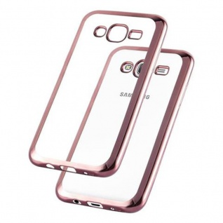 Cadorabo Hülle für Samsung Galaxy J5 2015 - Hülle in TRANSPARENT mit CHROM ROSEGOLD ? Handyhülle aus TPU Silikon im Chrom Design - Silikonhülle Schutzhülle Ultra Slim Soft Back Cover Case Bumper - Vorschau 2