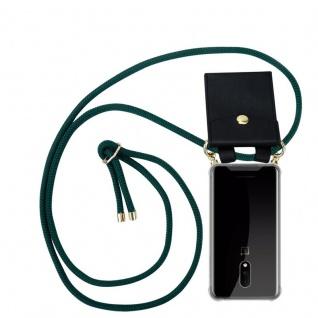 Cadorabo Handy Kette für OnePlus 7 in ARMEE GRÜN Silikon Necklace Umhänge Hülle mit Gold Ringen, Kordel Band Schnur und abnehmbarem Etui Schutzhülle