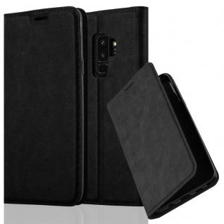 Cadorabo Hülle für Samsung Galaxy S9 PLUS in NACHT SCHWARZ - Handyhülle mit Magnetverschluss, Standfunktion und Kartenfach - Case Cover Schutzhülle Etui Tasche Book Klapp Style - Vorschau 1
