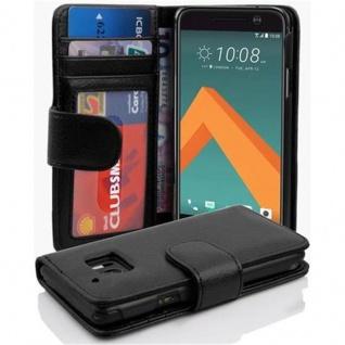 Cadorabo Hülle für HTC 10 (One M10) in OXID SCHWARZ - Handyhülle mit Magnetverschluss und 3 Kartenfächern - Case Cover Schutzhülle Etui Tasche Book Klapp Style