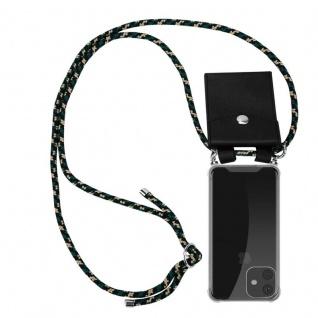Cadorabo Handy Kette für Apple iPhone 11 (XI) in CAMOUFLAGE - Silikon Necklace Umhänge Hülle mit Silber Ringen, Kordel Band Schnur und abnehmbarem Etui - Schutzhülle