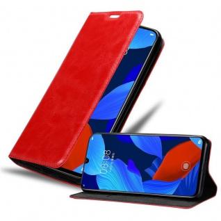 Cadorabo Hülle für Huawei NOVA 5 / 5 PRO in APFEL ROT - Handyhülle mit Magnetverschluss, Standfunktion und Kartenfach - Case Cover Schutzhülle Etui Tasche Book Klapp Style