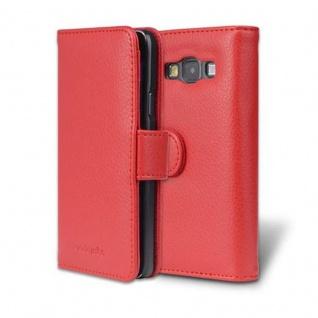 Cadorabo Hülle für Samsung Galaxy A3 2015 in INFERNO ROT - Handyhülle mit Magnetverschluss und 3 Kartenfächern - Case Cover Schutzhülle Etui Tasche Book Klapp Style