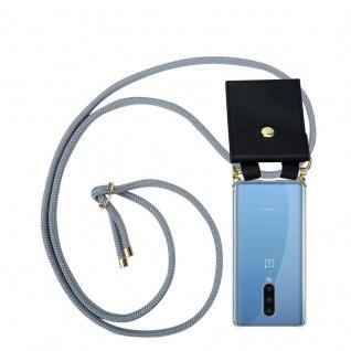 Cadorabo Handy Kette für Oneplus 8 in SILBER GRAU Silikon Necklace Umhänge Hülle mit Gold Ringen, Kordel Band Schnur und abnehmbarem Etui Schutzhülle