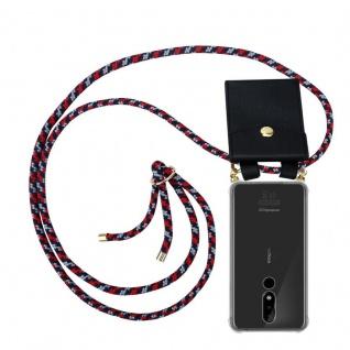 Cadorabo Handy Kette für Nokia 3.1 Plus in ROT BLAU WEISS Silikon Necklace Umhänge Hülle mit Gold Ringen, Kordel Band Schnur und abnehmbarem Etui Schutzhülle