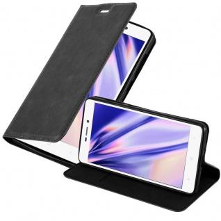 Cadorabo Hülle für Xiaomi RedMi 3S in NACHT SCHWARZ - Handyhülle mit Magnetverschluss, Standfunktion und Kartenfach - Case Cover Schutzhülle Etui Tasche Book Klapp Style