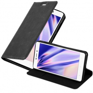 Cadorabo Hülle für Xiaomi RedMi 3S in NACHT SCHWARZ Handyhülle mit Magnetverschluss, Standfunktion und Kartenfach Case Cover Schutzhülle Etui Tasche Book Klapp Style