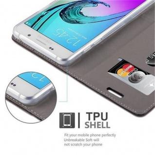 Cadorabo Hülle für Samsung Galaxy A5 2016 in ANTRAZIT GOLD - Handyhülle mit Magnetverschluss, Standfunktion und Kartenfach - Case Cover Schutzhülle Etui Tasche Book Klapp Style - Vorschau 5